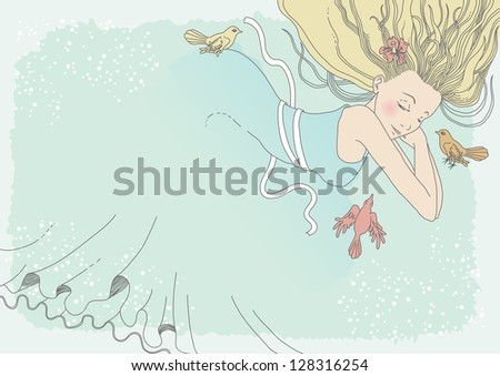 Birds wake young woman up - allegory of spring - stock vector