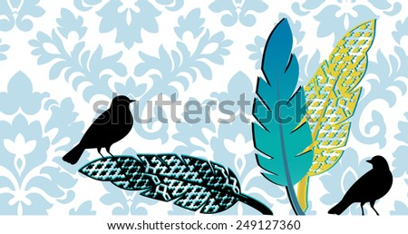 birds with feathers damask pattern behind  - stock vector