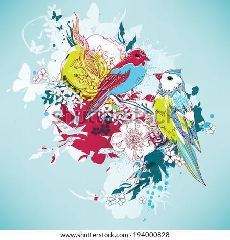 Birds with flowers vector eps10  - stock vector