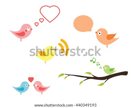 Birds with speech bubble