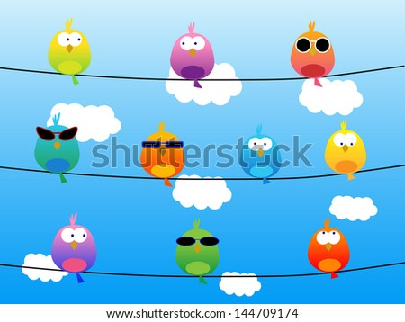 Birds with sunglasses - stock vector