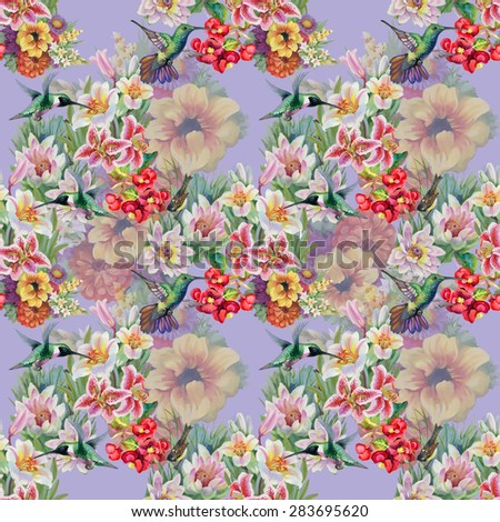 Birds with watercolor garden flowers seamless pattern on violet background vector illustration - stock vector
