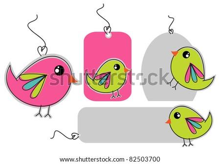 birdy tags - stock vector