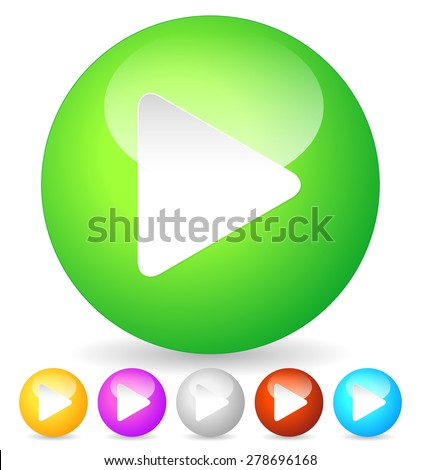 Birght and glossy play buttons, icons, vector - stock vector