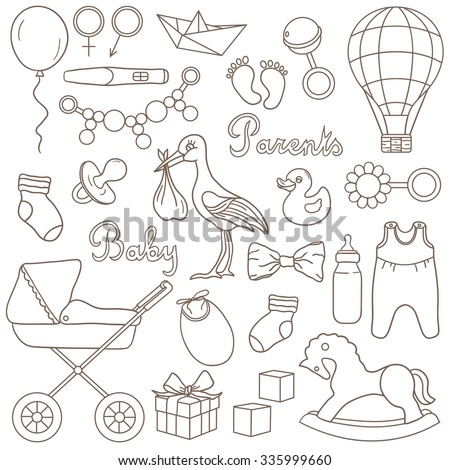Birth and baby icon set hand drawn. Sketch objects. Big collection vector - stock vector