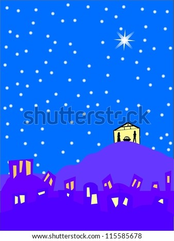 Birth of Jesus in the starry night/Bethlehem christmas background - stock vector