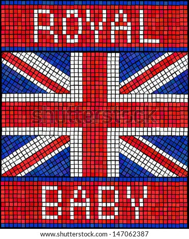 Birth of the Royal Baby concept. A Union Jack flag made from mosaic tiles. EPS10 vector format.