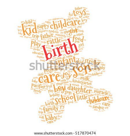 Birth. Word cloud teddy bear, white background. Family concept.
