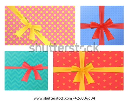 Birthday and Christmas holidays wrapped gift presents Gifts Pack.Top view.  - stock vector