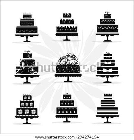 Birthday and Wedding Cakes Collection in Vintage Style - stock vector