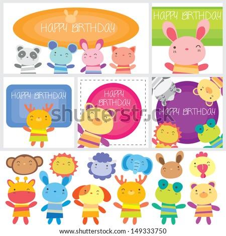 birthday animals set - stock vector