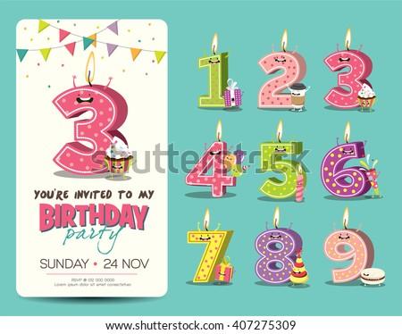 Vetor stock de birthday anniversary numbers candle funny character birthday anniversary numbers candle with funny character birthday party invitation card template stopboris Images