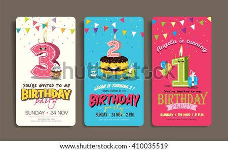 Birthday anniversary numbers candle funny character em vetor stock birthday anniversary numbers candle with funny character birthday party invitation card template stopboris Image collections