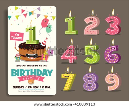 Birthday card stock images royalty free images vectors birthday anniversary numbers candle with funny character birthday party invitation card template stopboris Image collections