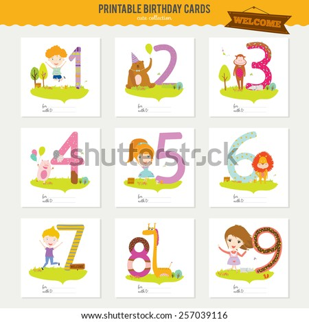 Birthday Anniversary Numbers Cute Animals Kids Stock Vector