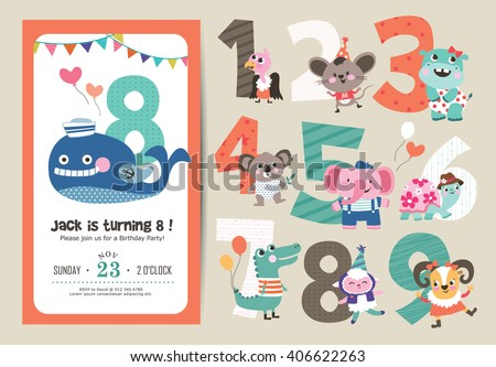Birthday Anniversary Numbers with Cute Animals & Birthday Party Invitation Card Template