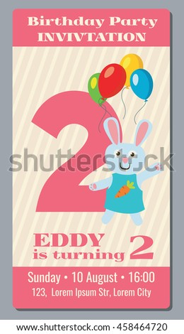 Birthday anniversary party invitation card with cute rabbit vector template 2 years old. Invitation to event birthday, illustration card with invitation to second birthday - stock vector