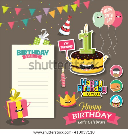 Birthday Anniversary with Funny Character & Birthday Party Template - stock vector