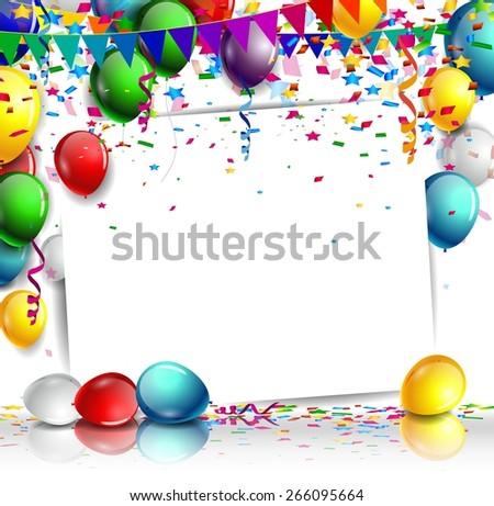 birthday background with balloon - stock vector