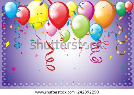 Birthday background with balloons and serpentine - stock vector