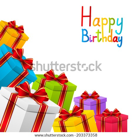 Birthday background with color gifts