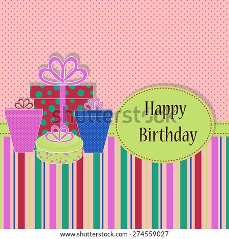 Birthday background with colored birthday present for your greeting card