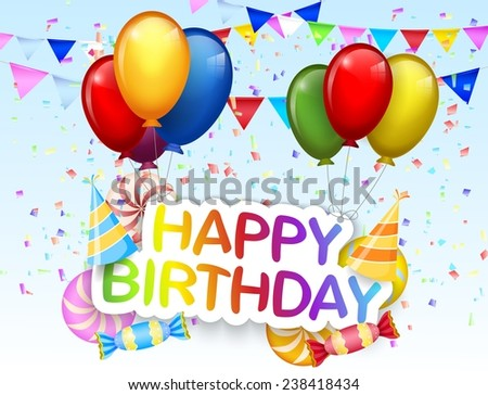 Birthday background with colorful balloon - stock vector