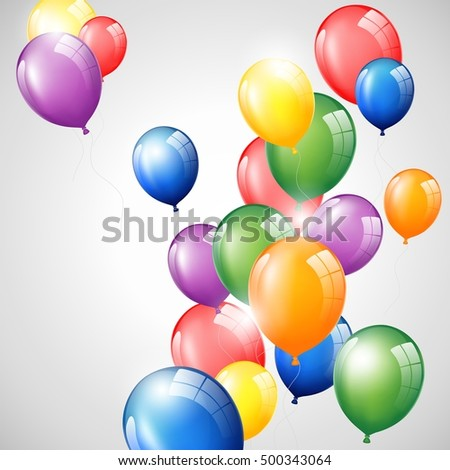 Birthday background with colorful balloon