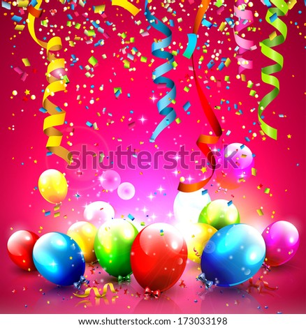 Birthday background with colorful balloons and confetti - stock vector