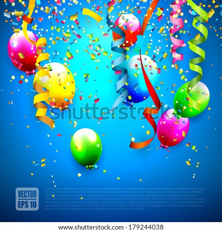Birthday background with colorful confetti and balloons  - stock vector