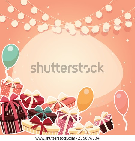 Birthday background with sticker presents and balloons, vector illustration - stock vector