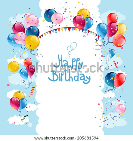 Birthday balloons in blue sky with place for text - stock vector