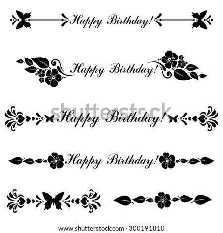 birthday border black and white