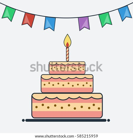 Birthday cake bunting flags flat design stock vector 585215959 birthday cake and bunting flags flat design cake icon creative template card for birthday pronofoot35fo Choice Image