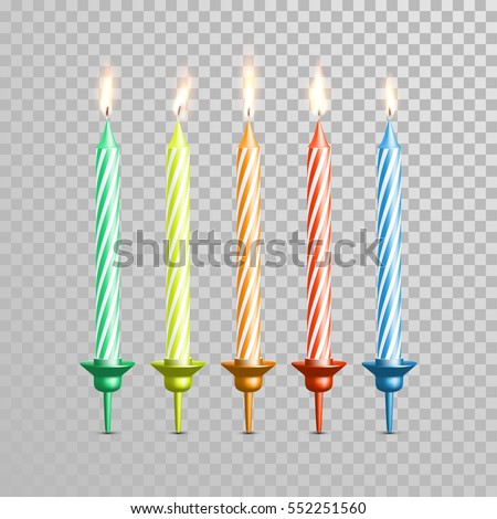 Birthday Cake Candles Vector Candles Burning Stock Vector HD