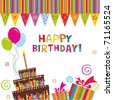 birthday cake card - stock photo