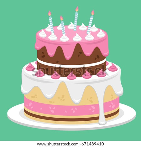 Birthday Cake Flat Icon Design Vector Stock Vector HD Royalty Free