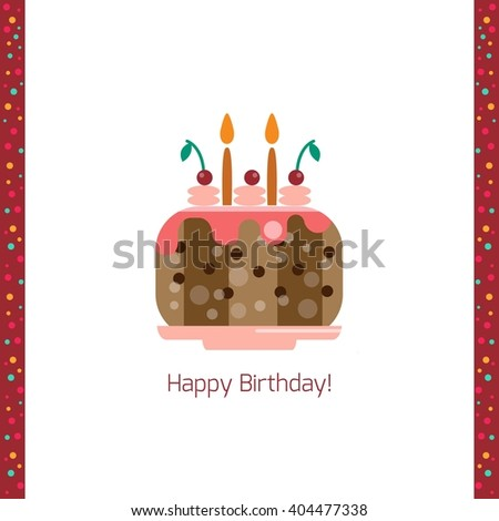 Birthday cake flat icon isolated white background. Happy birthday card with cake illustration. Greeting card. Celebration concept