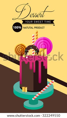 Birthday cake.  Flat icon of colorful marzipan cake with lollipop, candy, licorice stick, chocolate, glaze, donut. Typography lettering like label. Modern hipster dessert - stock vector