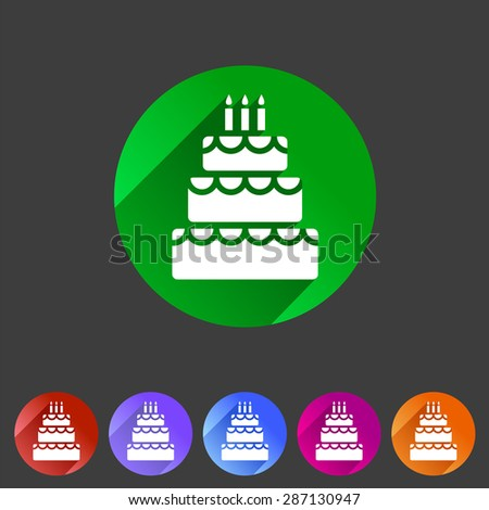 Birthday cake flat icon sign symbol logo label set