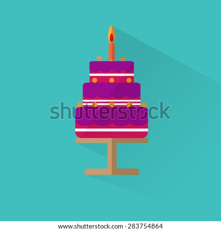 Birthday cake flat icon with long shadow - Happy Birthday,Eps10