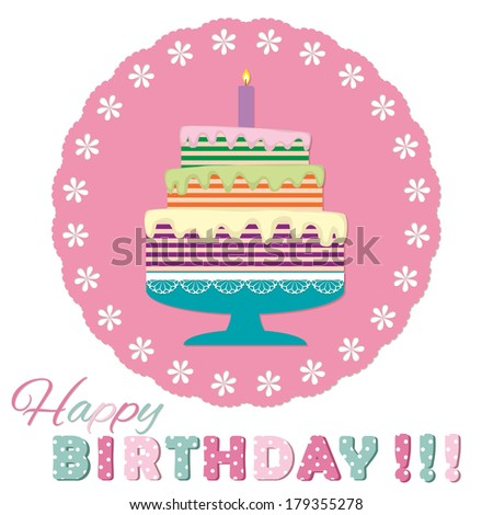 Birthday cake. For scrapbook or greeting card design. - stock vector