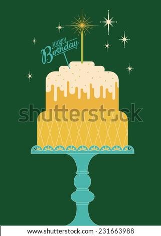 birthday cake greeting template vector/illustration - stock vector