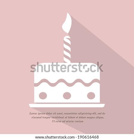 Birthday cake icon - stock vector