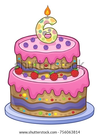 Birthday cake image for 6 years old - eps10 vector illustration.