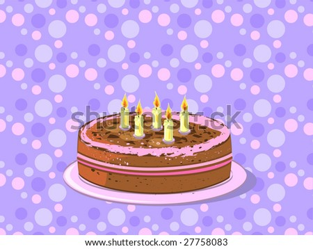 birthday cake on plate (editable layers) - stock vector