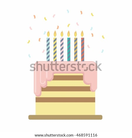 Birthday Cake Wedding Vector Illustration Isolated Stock Vector