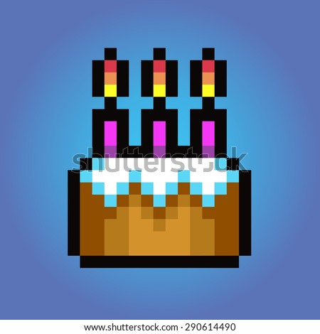 Birthday cake, Pixel art vector icon illustration