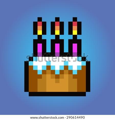 Birthday cake, Pixel art vector icon illustration - stock vector
