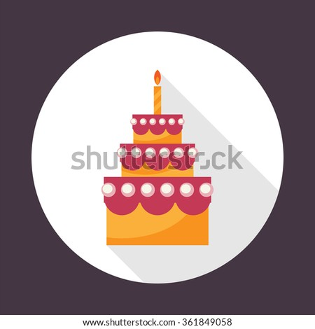 Birthday cake. Round flat vector icon  with long shadow. EPS 10.